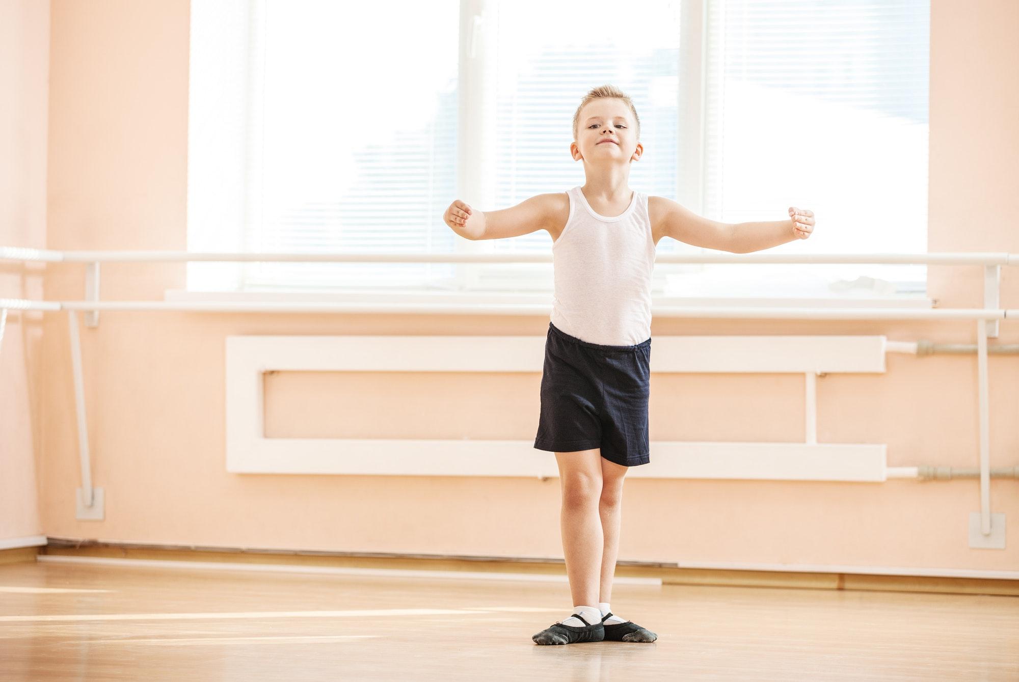 Boy dancing at a ballet class