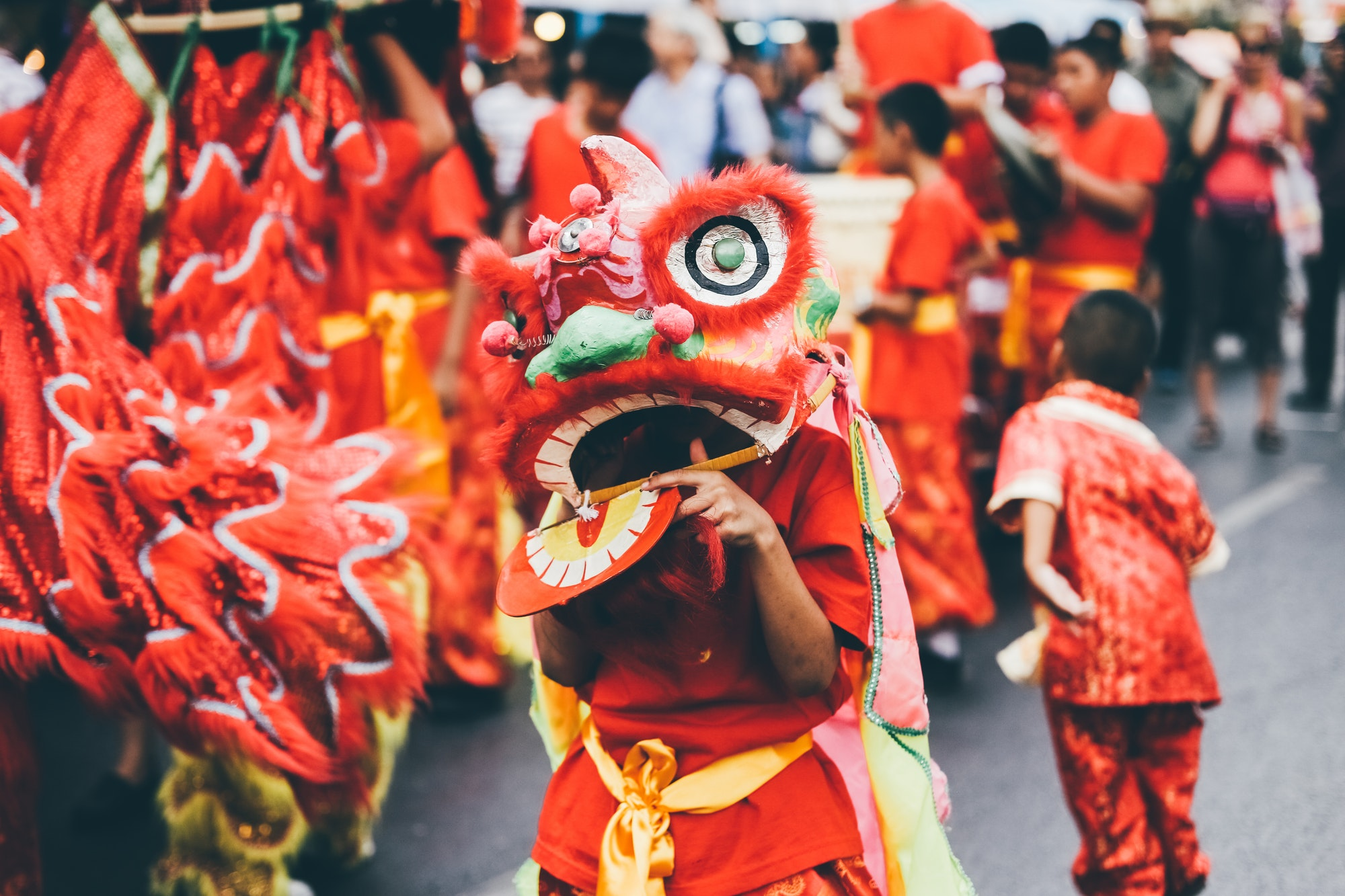 Lion dance during Chinese New Year celebration.